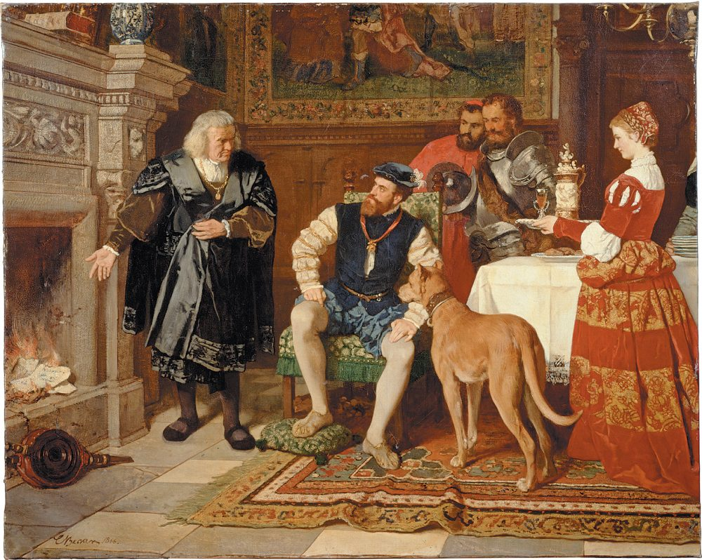 'Jacob Fugger burning the debt papers of Emperor Charles V in 1535'; painting by Karl Becker, 1866